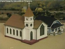 HO Scale Church set (Gray) with 4 benches unassembled kit