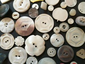 Lot of 50 Antique MOTHER OF Pearl Buttons 2 Hole Flowers Geometric Carved shell