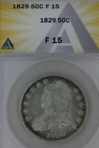 1829  .50  ANACS  F 15   1800's Capped Bust Half Dollar, Miss Liberty, Bust