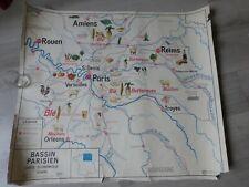 carte scolaire  murale Bassin Parisien Paris / NORMANDIE Rouen instituteurs