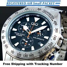 CITIZEN Q&Q H022-202 Solar Chronograph Analog Silver Black Men's Watch Japan F/S