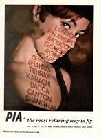 1966 Original Advertising' Pia Pakistan International Airlines Destinazioni