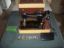 Vintage 50's Singer 99K Portable Black Electric Sewing Machine + Accessories