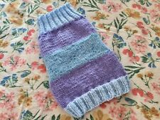 """Hand Knitted Dog Jumper Coat Small/Medium Size Dog. Blues/Lilac. 13"""""""