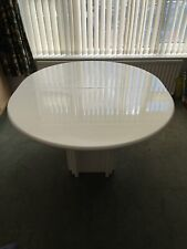 Vintage Retro Dining Table Large White Lacquer Extending Oval 2 Leaves