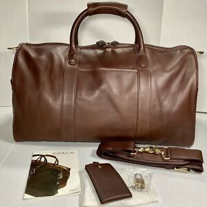 Vintage COACH Leather Duffle Bag Mahogany Carry-On Travel Luggage Gym NEVER USED