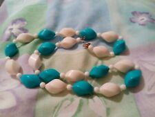 Turquoise And White Plastic Bead Necklace