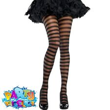 Womens Striped Fancy Dress Tights Costume Accessory - Black Halloween Stripe