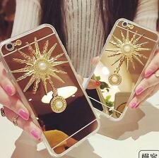 Luxury Bling Diamonds Crystal sunflower tassel Mirror Phone Case Cover Skin A