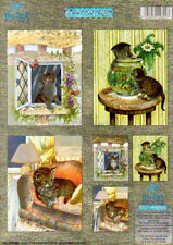 Adorable Kittens NO CUTTING Die Cut Dufex 3d Decoupage Card Making Paper Craft