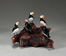 PUFFIN Flock by JOHN PERRY 4in tall 5 birds Sculpture Figurine Decor Statue