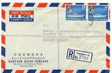 SINGAPORE 1955 QEII 50 Cents Ship (2 x) VF flight cover QUEENSTREET / SINGAPORE