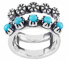 AMERICAN WEST STERLING SILVER TURQUOISE & FLOWER DOUBLE BAND RING SIZE 5 QVC $79