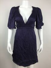 Betsey Johnson Women Dress Silk Empire Waist Tie Belt V-Neck 3/4 Sleeves Size 6