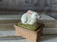 Vtg Eurocraft Rabbit Bunny Basket Trinket Jewelry Box Ceramic Handpainted RARE