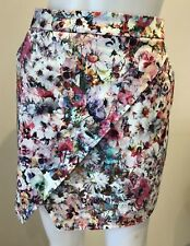 Forever New Size 10 Womens Floral Skirt Crossover Front Panels & Pockets Party