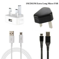 Micro USB Cable Lead Mains Charger Plug For Samsung Nokia LG Sony HTC Blackberry