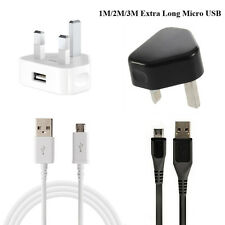 UK Mains Wall Charger & 1M/2M/3M Micro USB Cable Charger Wire For Samsung S6 S7