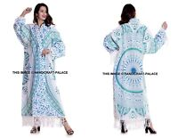 Women Kimono Ombre Mandala Print Casual Loose Long Cotton Blouse Shawl Indian