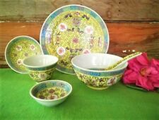 VINTAGE CHINESE RICE BOWL PLATE SPOON SET 6PC YELLOW FAMILLE ROSE SET FOR ONE