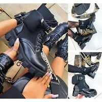 Womens Ankle Boots Chunky Sole Pouch Ladies Pocket Goth Punk Biker Shoe Size 3-8
