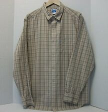 Men COLUMBIA Button Down Long Sleeve Plaid Shirt L White/Gray/Orange 100% cotton
