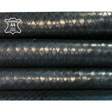 BLUE snake leather Genuine cow hide Blue leather print INDIAN SNAKE 715, 2.75 oz