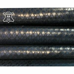 BLUE snake leather Genuine cow hide Blue leather print INDIAN SNAKE 715, 2.75 oz