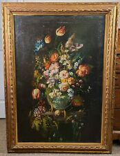 Antique Floral Still Life Oil Painting Tulip Italian 18th century Old Master