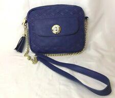 Steve Madden Royal Blue Purple Gold Chain Shoulder Bag Purse Quilt Faux Leather