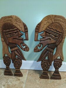 Unique African Wooden Wall Plaques Man Art Set of 2 Free and Fast Shipping