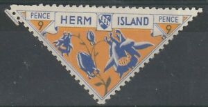 HERM ISLAND 1954 FLOWERS 9 PENCE COMMEMORATIVE STAMP MM