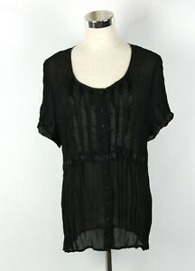 Suzanne Grae Blouse Top Sz 14 Approx Black Sheer Crinkle Short Sleeve Button Up