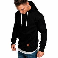 Men's Hoodies Slim Hooded Sweatshirt Outwear Sweater Coat Jacket Black Size XL