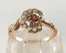 LUSH 9K 9CT ROSE GOLD SNAKE MADAGASCAN GARNET AUS OPAL ART DECO INS RING