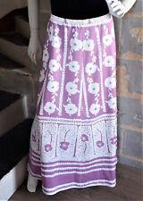 Jupe vintage parme à fleurs blanches Seventies Jupe longue Flower Power
