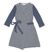 Womens Diane von Furstenberg Julian Two Mini Striped Dress DVF Blue Size US8