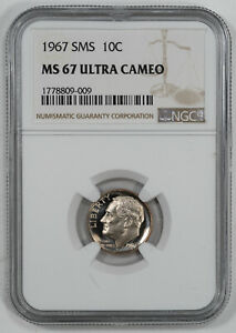 1967 SMS ROOSEVELT DIME 10C NGC CERTIFIED MS 67 MINT UNC - ULTRA CAMEO (009)