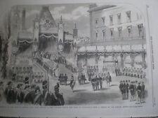 Coronation King Charles XV of Sweden oath of allegiance 1860 old print
