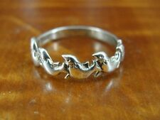 Seal Animal in a Row Band Sterling Silver 925 Ring Size 6 3/4