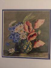 Rare Aquarelle Vase de Fleurs Signée Al Turbo 1944 Ac Cadre