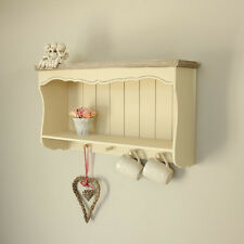 cream wooden vintage style wall shelf storage unit shabby chic home furniture