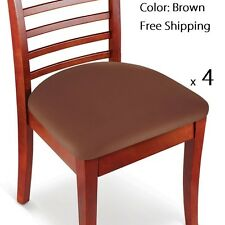 Set of 4 Brown Stretchable Easy Fit Seat Covers for Chairs, Bar Stools, & More
