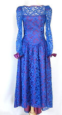 Vtg Dance Allure Dress Blue Lace Hi-Low Open Back Long Sleeve Size M