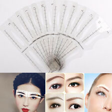 12 Eyebrow Grooming Shaping Stencil Kit Eye Brow Makeup Template Shaper DIY Tool