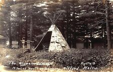 Milford ME Wigwam Camps Native American Indian Teepee RPPC Postcard