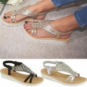 Ladies Memory Foam Low Wedge Sandals Summer Beach Fashion Strappy Gladiator Shoe