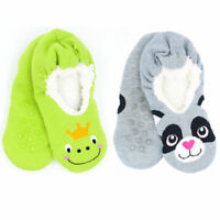 Boys Girls Animal Character Slippers Gripper Socks With Sherpa Fleece Lining