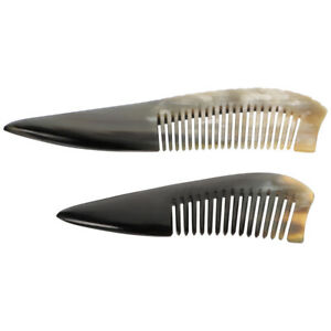 2Pcs Durable Smooth Comfortable Horn Combs for Hair Care Massage Hair