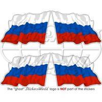 RUSSISCHE FÖDERATION Wehende Flagge RUSSLAND Fahne 50mm Aufkleber x4 Stickers